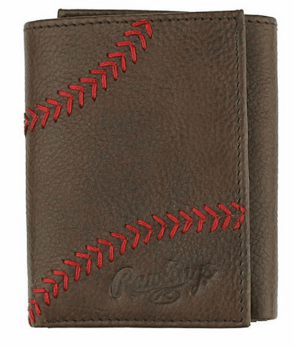 WEEKLY SPECIAL #4<br>Baseball Home Run Stitch Brown Leather Tri-Fold Wallet by Rawlings<br>LIMITED QUANTITIES