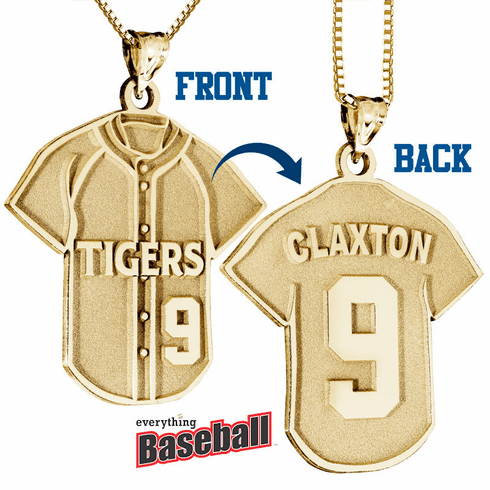 Baseball Jersey Pendant with Team Name, Player Name & Number<br>GOLD or SILVER
