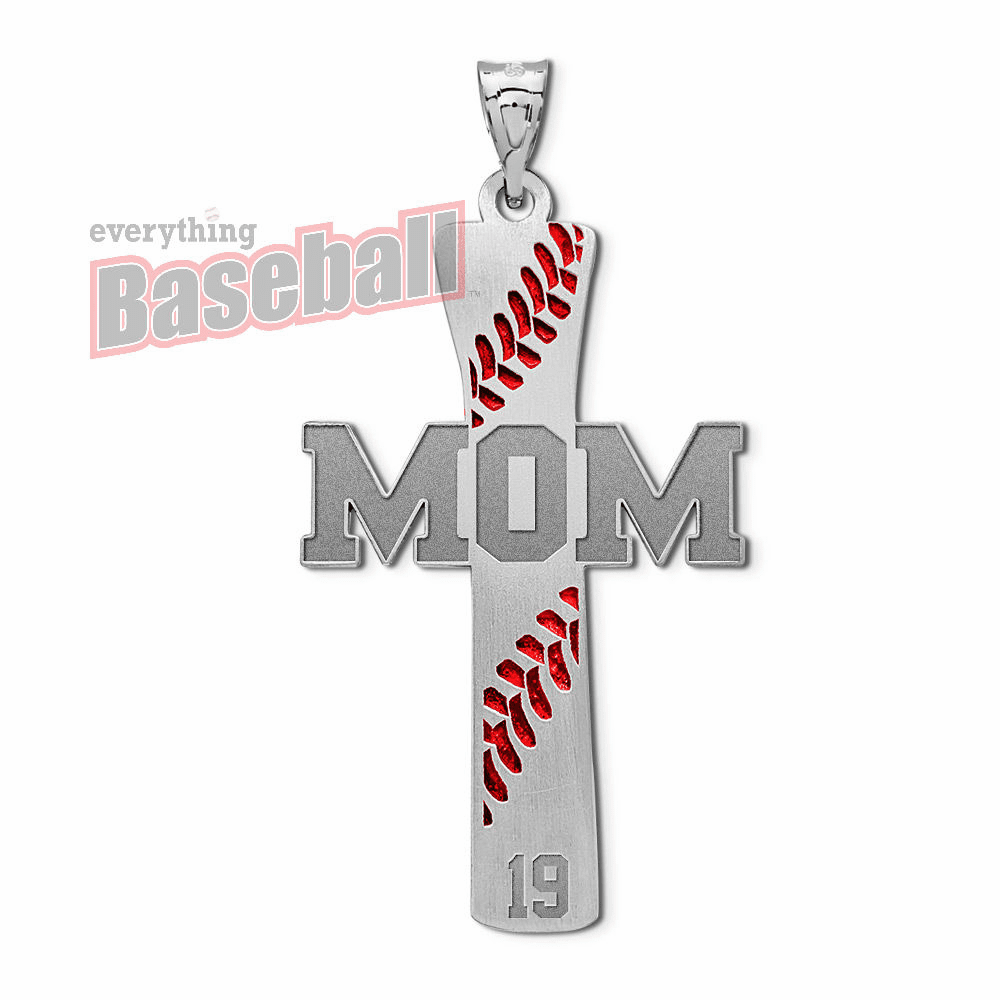 Baseball Mom Cross Pendant with Number<br>GOLD or SILVER