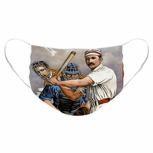 Vintage Baseball Players Pleated Face Mask