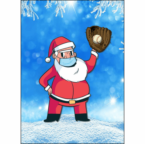 AFTER CHRISTMAS SALE!<br>Baseball Santa Claus with Face Mask Christmas Cards<br>LESS THAN 8 PACKS LEFT!