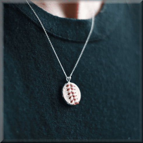 Baseball Seam Dainty Chain Pendant Necklace<br>GOLD or SILVER