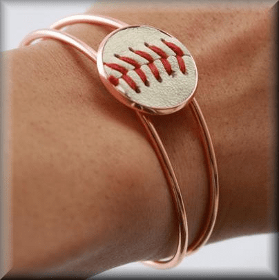 Baseball Seam Rose Gold Bangle Bracelet<br>LESS THAN 6 LEFT!