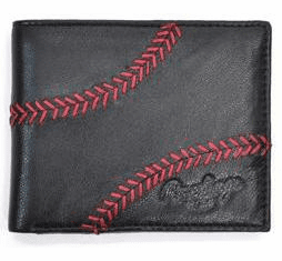 Baseball Stitch Black Leather Bi-Fold Wallet by Rawlings