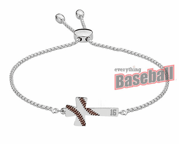 Baseball Stitch Cross Adjustable Bracelet with Number<br>GOLD or SILVER