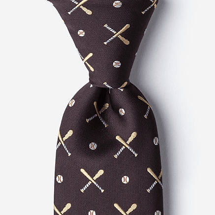 Batter Up Brown Baseball Men's Silk Tie<br>ONLY 5 LEFT!