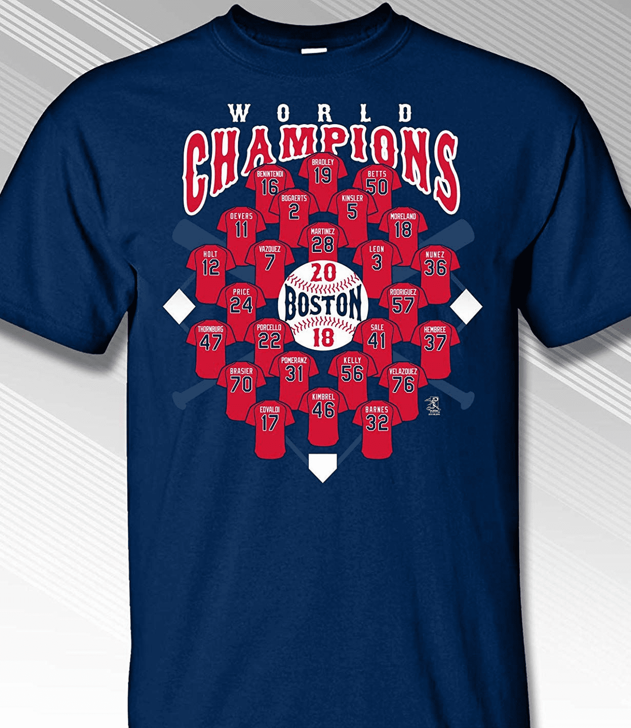Boston 2018 World Champions Players Jersey T-Shirt<br>Short or Long Sleeve<br>Youth Med to Adult 4X