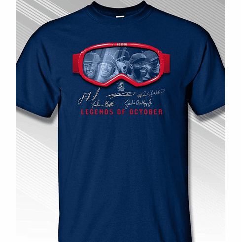 Boston Legends of October Goggles T-Shirt<br>Short or Long Sleeve<br>Youth Med to Adult 4X
