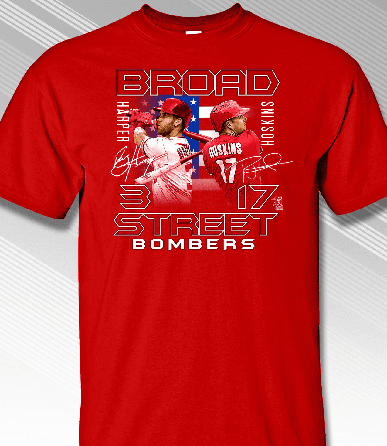 Bryce Harper and Rhys Hoskins Broad Street Bombers T-Shirt<br>Short or Long Sleeve<br>Youth Med to Adult 4X