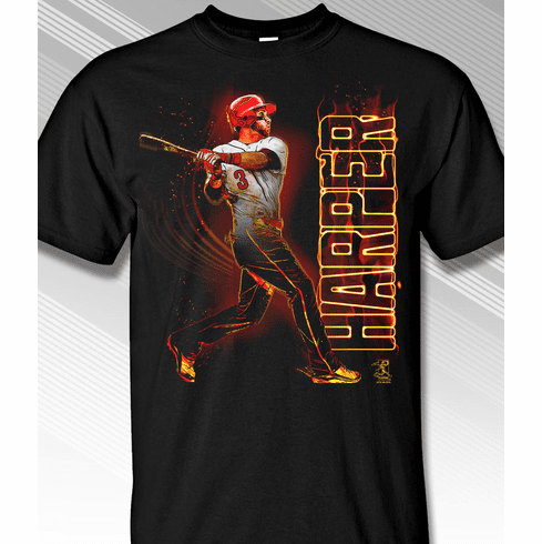 Bryce Harper On Fire Philadelphia #3 T-Shirt<br>Short or Long Sleeve<br>Youth Med to Adult 4X