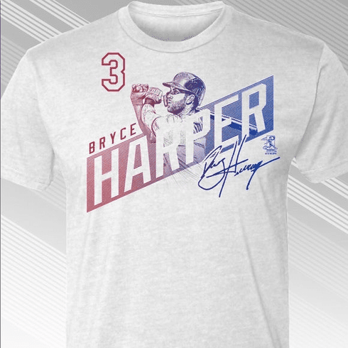 Bryce Harper Philadelphia #3 One-Shot T-Shirt<br>Short or Long Sleeve<br>Youth Med to Adult 4X