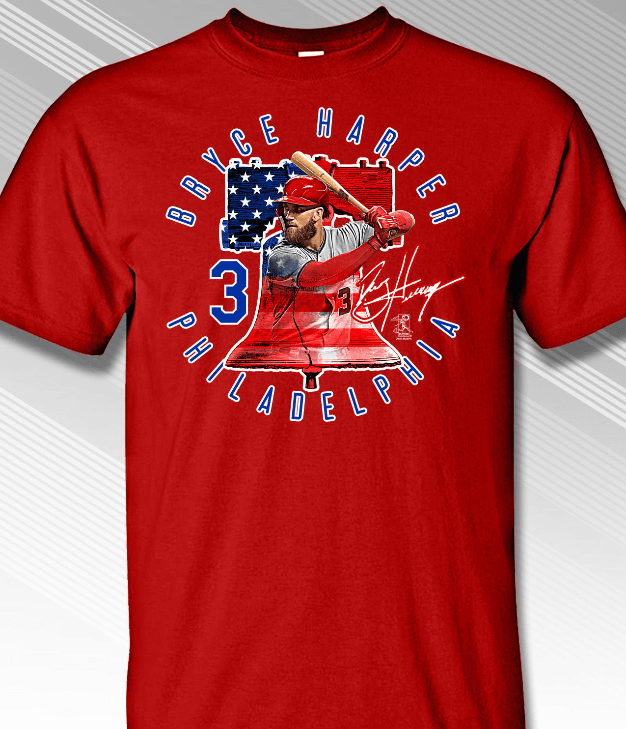 Bryce Harper Philadelphia Liberty Bell #3 T-Shirt<br>Short or Long Sleeve<br>Youth Med to Adult 4X