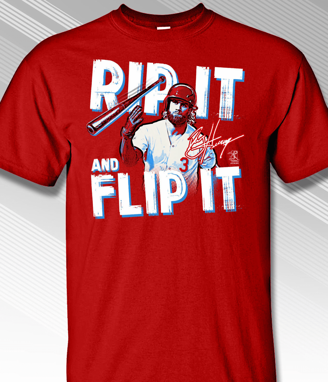 Bryce Harper Rip It and Flip It Philadelphia Baseball T-Shirt<br>Short or Long Sleeve<br>Youth Med to Adult 4X