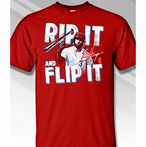 info for 9cf20 bc426 Bryce Harper Rip It and Flip It Philadelphia Baseball T ...