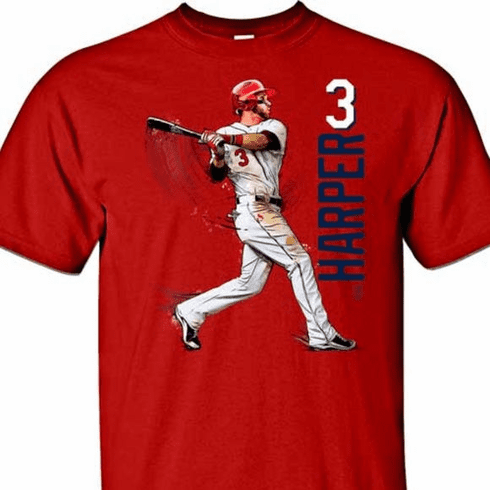 Bryce Harper Swing in Motion Philadelphia 3 T-Shirt<br>Short or Long Sleeve<br>Youth Med to Adult 4X