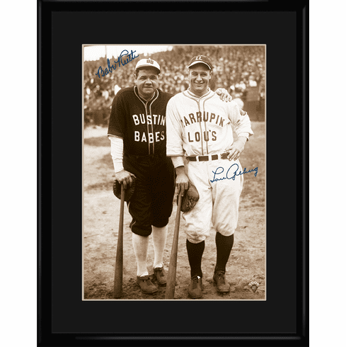Bustin Babes Babe Ruth and Lou Gehrig Baseball 11x14 Framed Lithograph