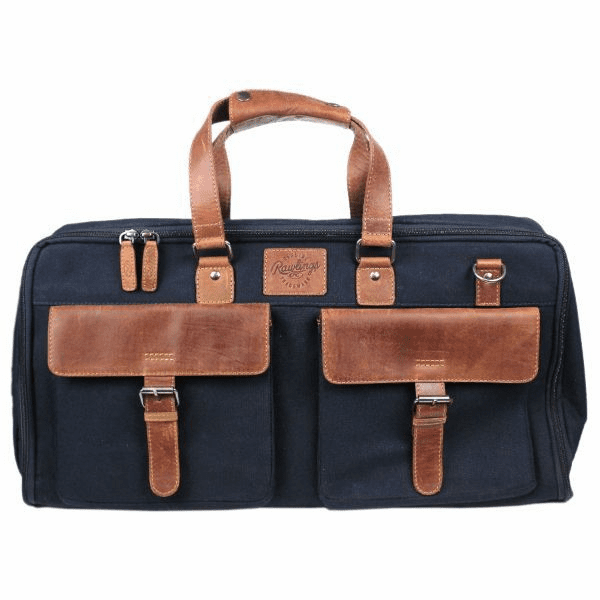 Canvas Collection Baseball Leather Dark Navy Blue Weekender Travel Bag by Rawlings
