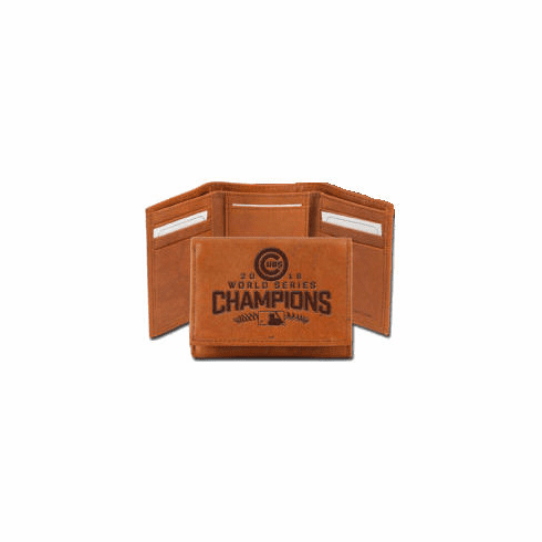 Chicago Cubs 2016 World Series Champions Embossed Leather Trifold Wallet<br>ONLY 2 LEFT!