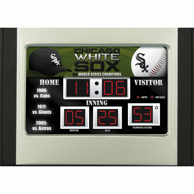 Chicago White Sox Baseball Scoreboard Desk Alarm Clock