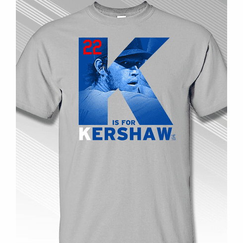 Clayton Kershaw K is for Kershaw T-Shirt<br>Short or Long Sleeve<br>Youth Med to Adult 4X
