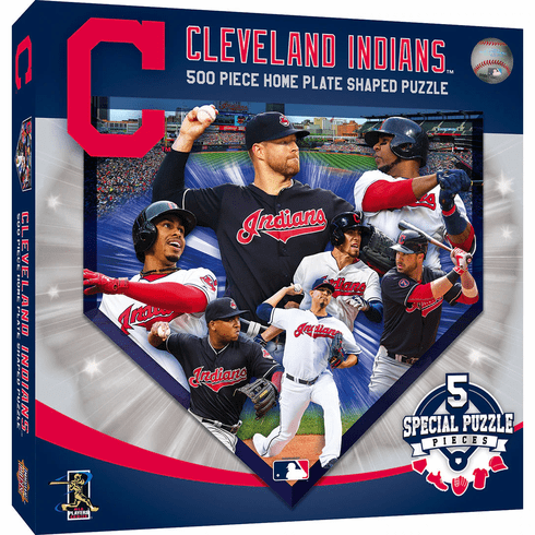 WEEKLY SPECIAL #5<br>Cleveland Indians Players Home Plate Shaped 500 Piece Baseball Puzzle<br>LESS THAN 4 LEFT!