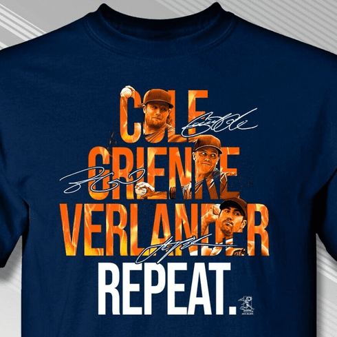 Cole Grienke Verlander Repeat Houston T-Shirt<br>Short or Long Sleeve<br>Youth Med to Adult 4X
