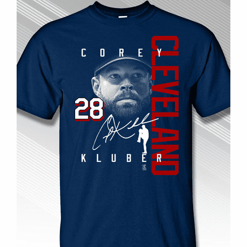 Corey Kluber Cleveland Colorblock T-Shirt<br>Short or Long Sleeve<br>Youth Med to Adult 4X