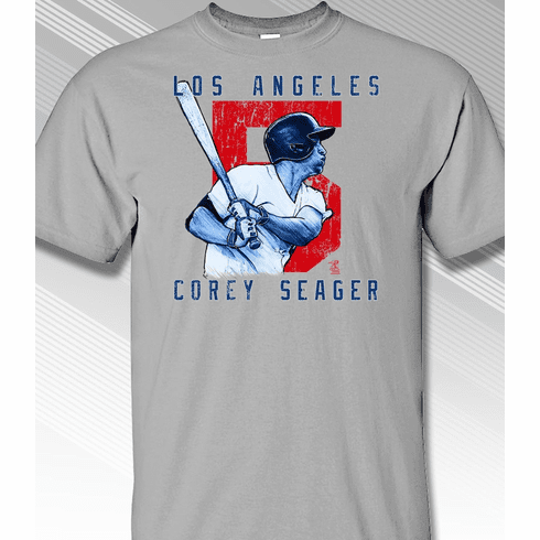 Corey Seager Rough Cut Los Angeles 5 T-Shirt<br>Short or Long Sleeve<br>Youth Med to Adult 4X