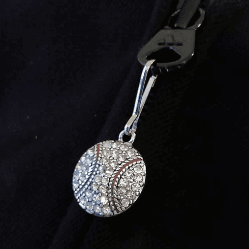 Crystal Baseball Zipper Pull