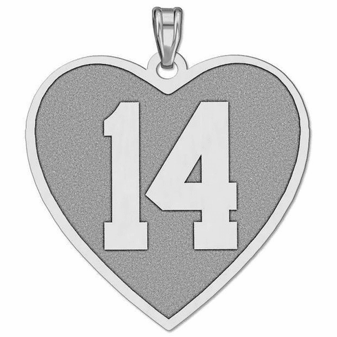 Customized Heart Shaped Sports Number Pendant<br>GOLD or SILVER