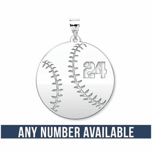Customized Round Baseball Cut Out Number Disc Pendant<br>GOLD or SILVER