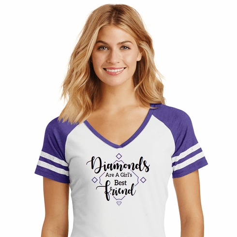Diamonds are a Girl's Best Friend Ladies Baseball Game V-Neck T-Shirt<br>Choose Your Colors<br>Ladies XS-4X