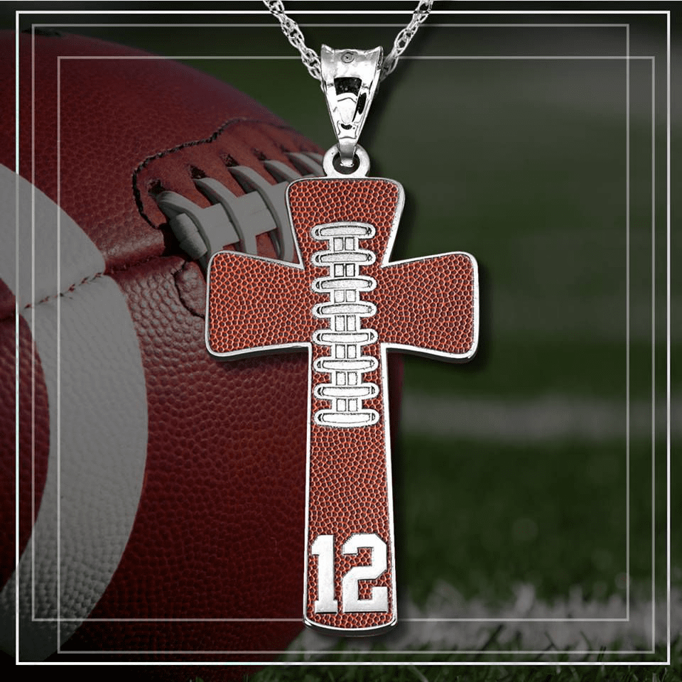 Football Cross Pendant with Number<br>GOLD or SILVER