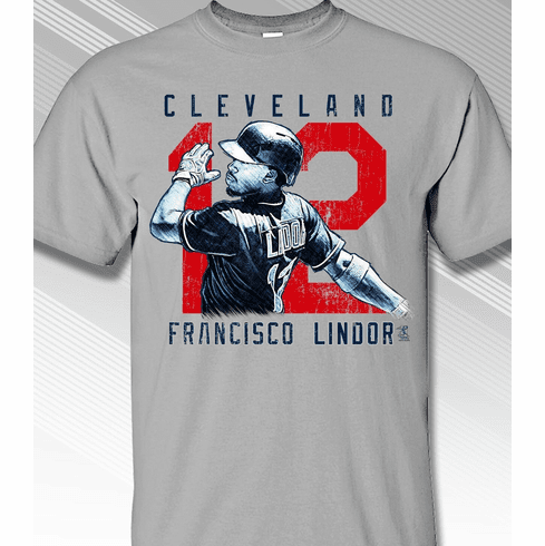 Francisco Lindor Rough Cut Cleveland 12 T-Shirt<br>Short or Long Sleeve<br>Youth Med to Adult 4X