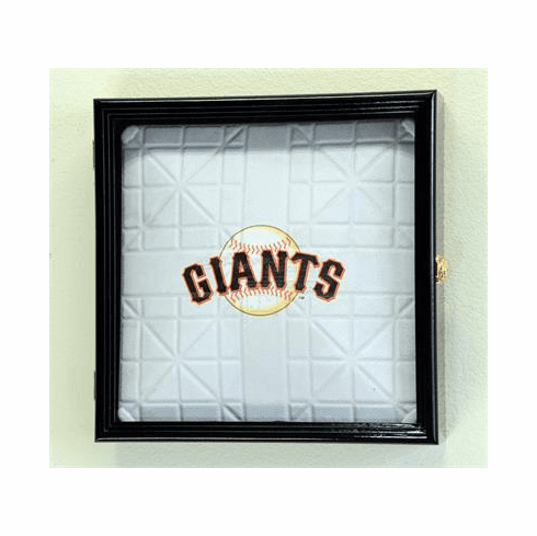 Full Size MLB Baseball Base Display Case Cabinet Holder Wall Rack w/ UV Protection<br>4 WOOD COLORS!