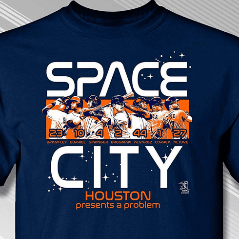 Houston Space City T-Shirt<br>Short or Long Sleeve<br>Youth Med to Adult 4X