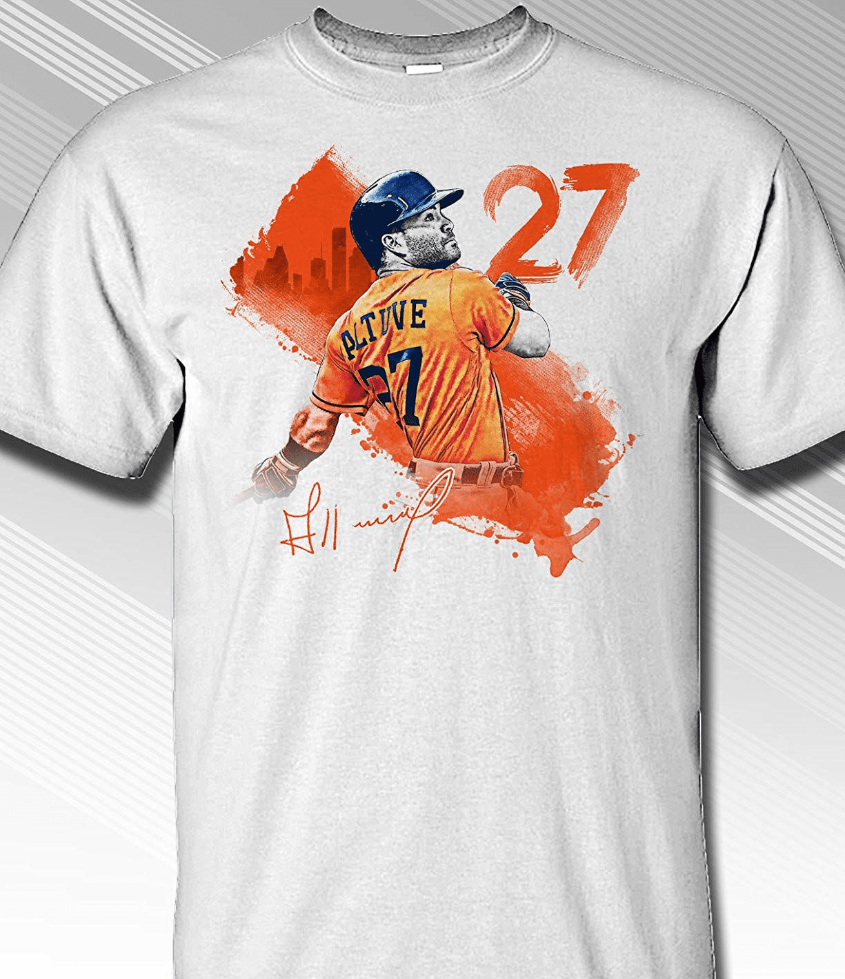 Jose Altuve Houston #27 Paint Splash T-Shirt<br>Short or Long Sleeve<br>Youth Med to Adult 4X