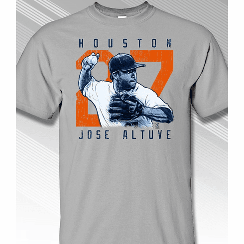 Jose Altuve Rough Cut Houston 27 T-Shirt<br>Short or Long Sleeve<br>Youth Med to Adult 4X