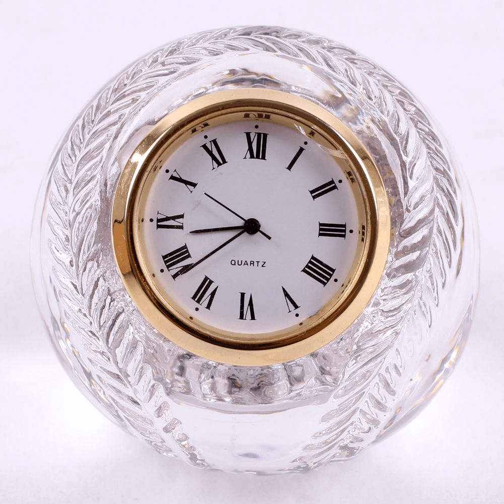 Lead Crystal Baseball Clock