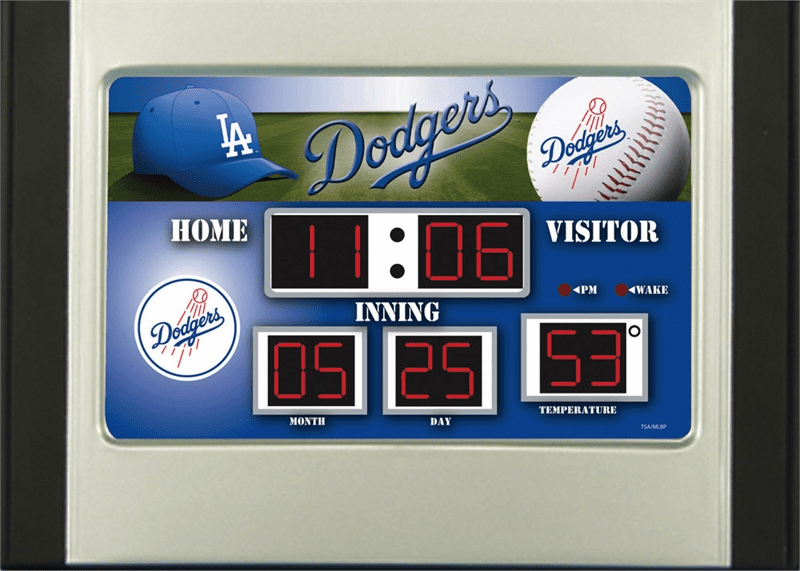 Los Angeles Dodgers Baseball Scoreboard Desk Alarm Clock