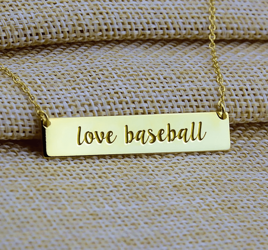 Love Baseball Bar Necklace<br>GOLD or SILVER