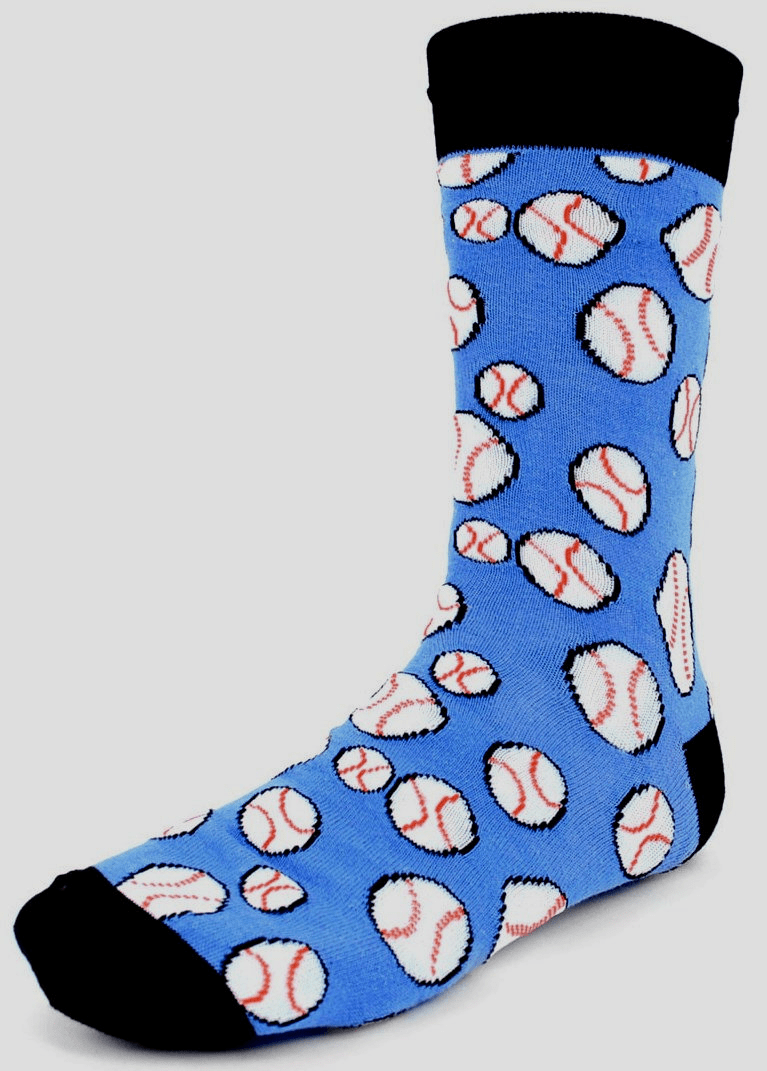 Men's Blue Baseball Dress Socks