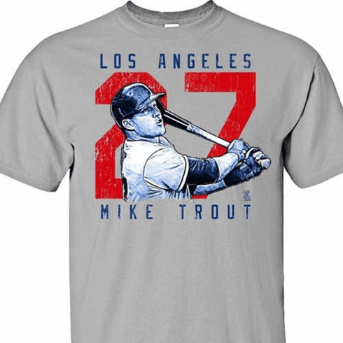 Mike Trout Rough Cut Los Angeles 27 T-Shirt<br>Short or Long Sleeve<br>Youth Med to Adult 4X