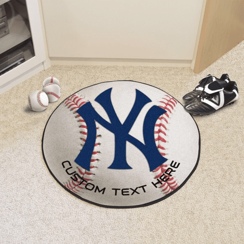 """MLB Team Logo 27"""" Round Baseball Rugs<br>Blank or Personalized!"""