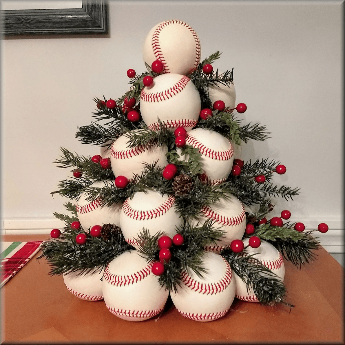 New White Leather Baseballs Christmas Tree<br>ONLY 1 LEFT!