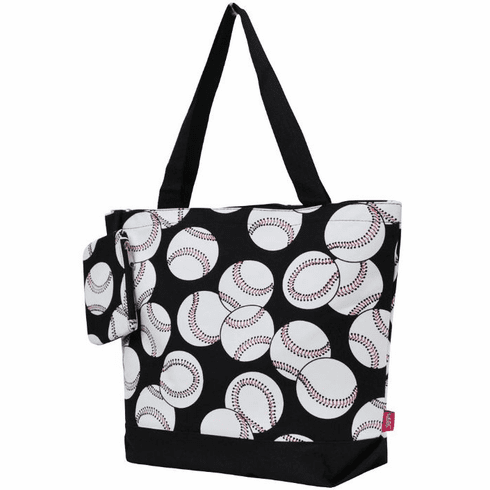 NGIL Baseballs on Black Canvas Tote Bag<br>LESS THAN 6 LEFT!