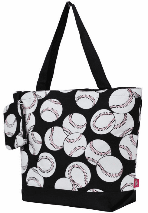 NGIL Baseballs on Black Canvas Tote Bag<br>LESS THAN 10 LEFT!