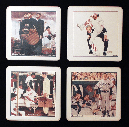 Norman Rockwell Baseball Stone Coaster Sets