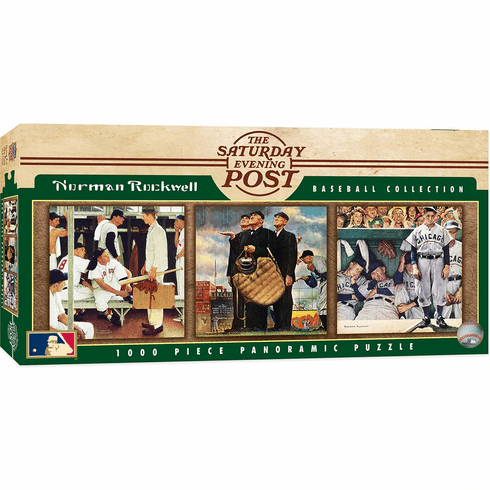 Norman Rockwell Saturday Evening Post Baseball Collection 1000 Piece Panoramic Puzzle<br>RETIRED DESIGN!<br>LESS THAN 6 LEFT!