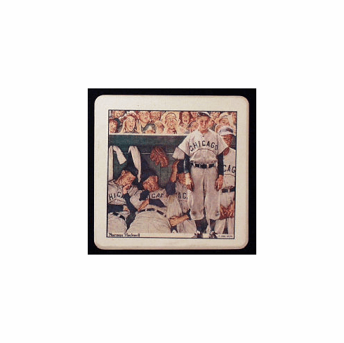 Norman Rockwell The Dugout Baseball Stone Coaster Set<br>ONLY 4 SETS LEFT!